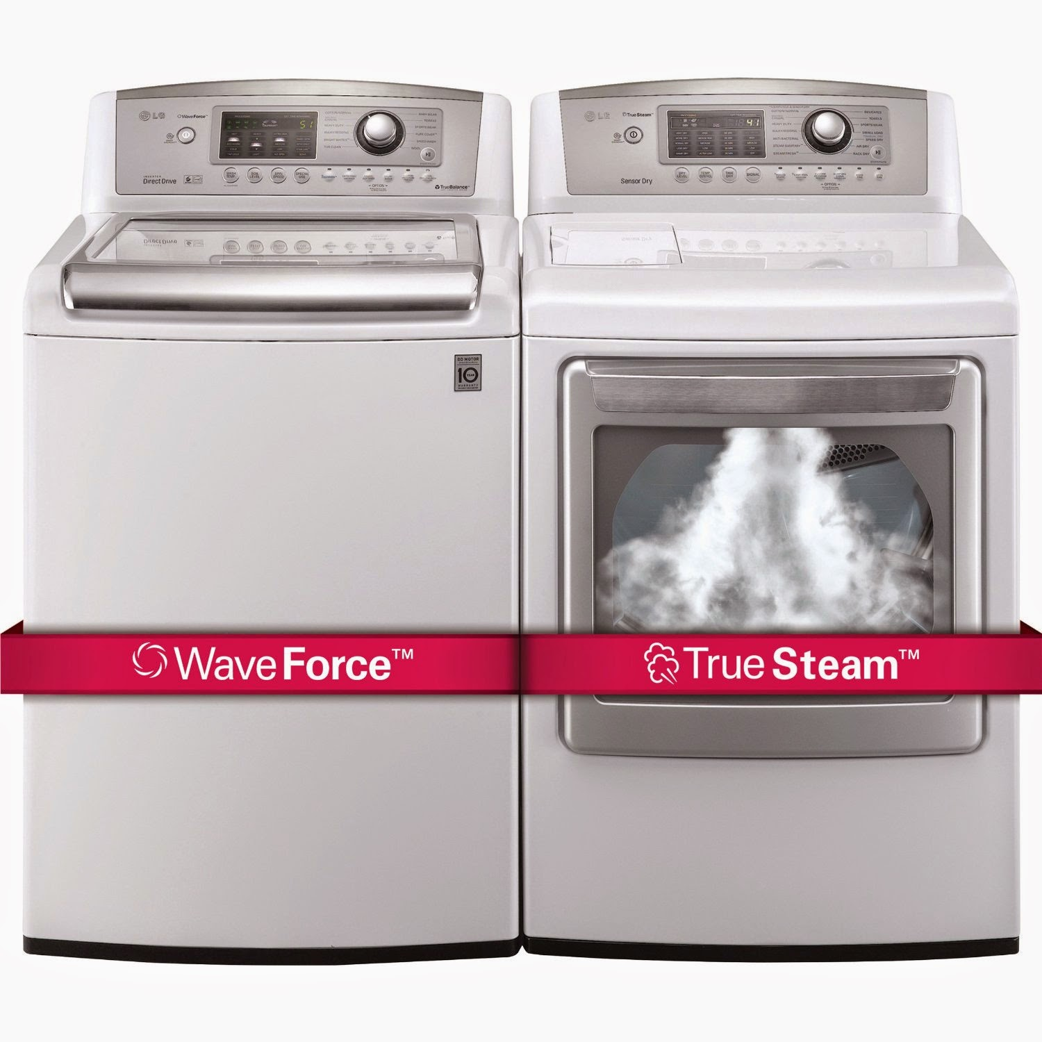 lg ultra large top load laundry pair with wave force technology dryer