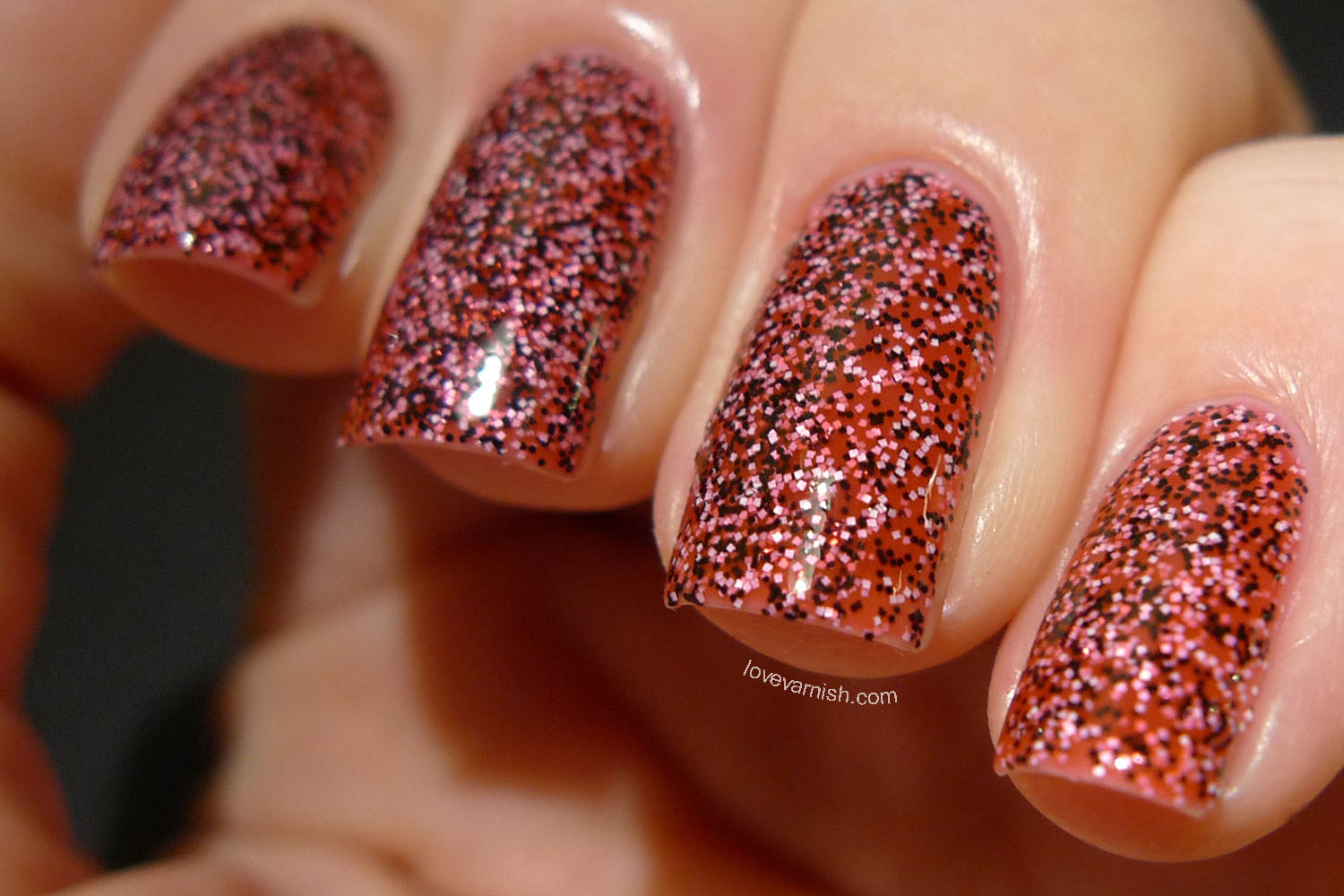 Dance Legend Caviar Polish Arovana pink black white glitter