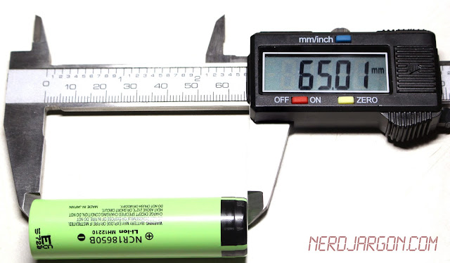 Panasonic NCR18650B Unprotected Cell - Caliper Measurement