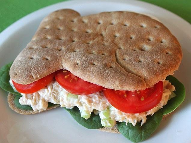 tuna salad on goldfish bread