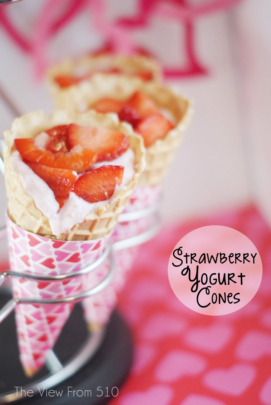 Strawberry Yogurt Cones #recipe #sponsored