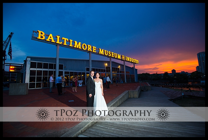 Baltimore Museum of Industry bridal portrait at sunset