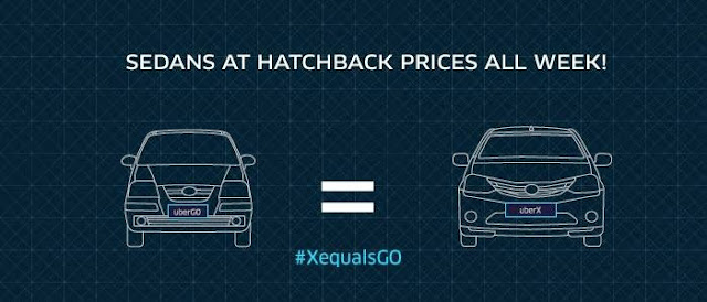 UBERX and UBERGO prices will be same till  17th May in Ahmedabad [Promocode]