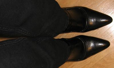 black booties black jeans
