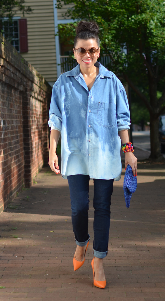 OVERSIZED DENIM SHIRT STREET STYLE