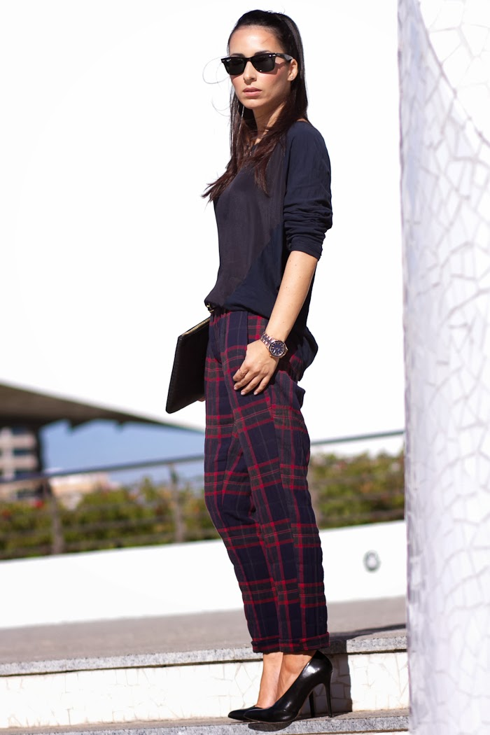 Red and Navy Plaid Pants by Grup MK