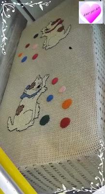 Colcha Infantil de crochê filé com gatinho e com gráfico