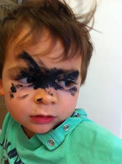Jacob Arun Waxman: Jacob made raccoon eyes with mascara Raccoon Eyes Makeup Crying