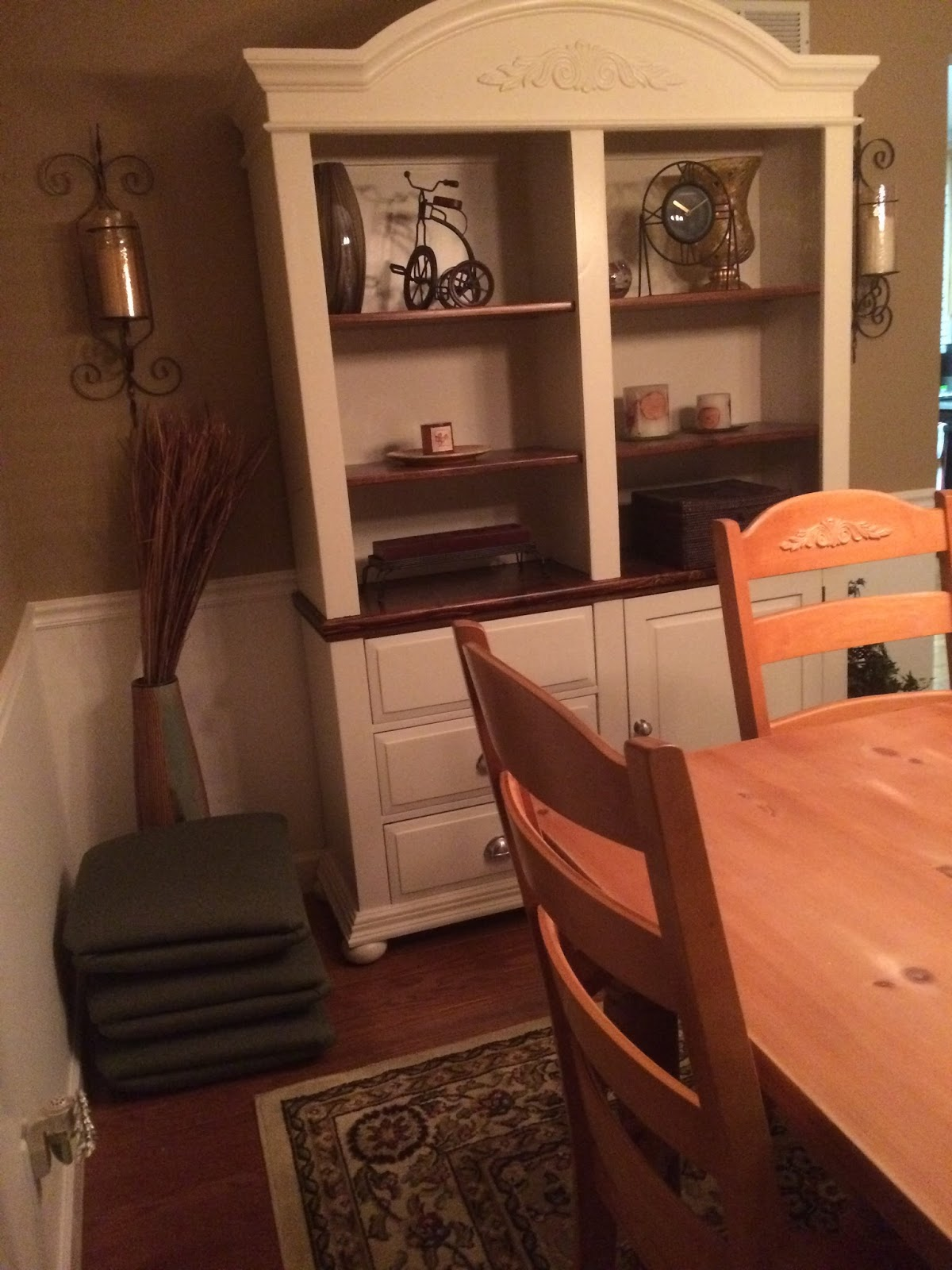 Nice Rustoleum Painter us Touch Heirloom White Broyhill Fontana Library with Dark Walnut Danish Oil shelves Soon the table will match the library