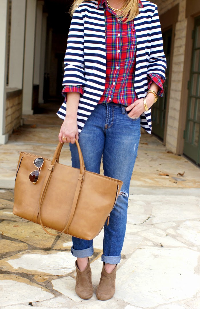 how to mix plaid and stripes