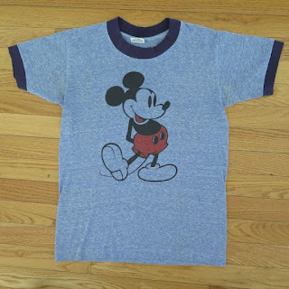 VINTAGE ORIGINAL MICKEY MOUSE TEE SHIRT WALT DISNEY BLUE 1980's SMALL 50/50 THIN