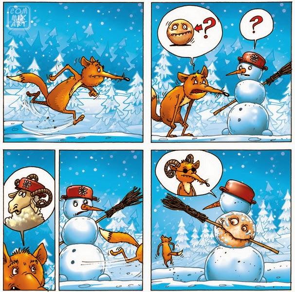 Снеговик и лиса