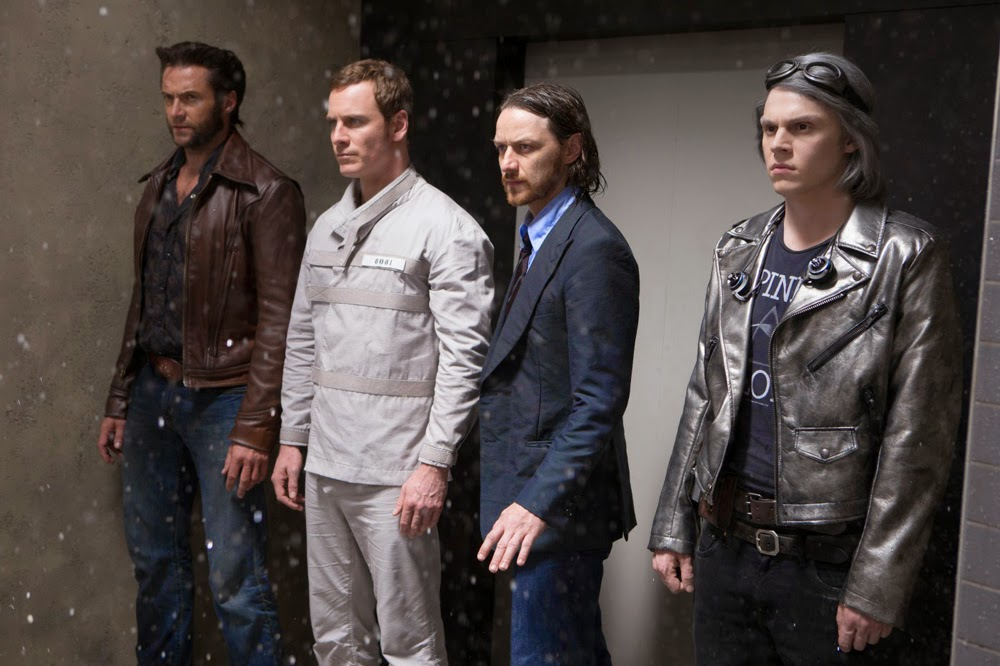 James McAvoy, Hugh Jackman, Michael Fassbinder, and Evan Peters in X-Men Days of Future Past