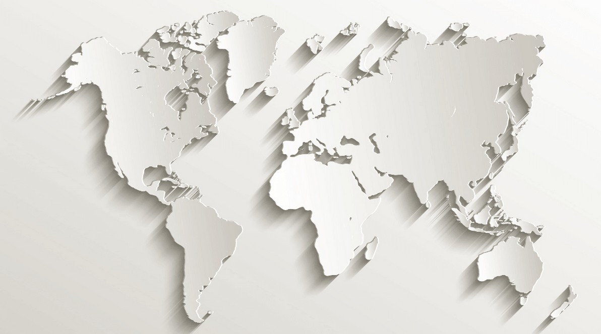 World 3D Map white color World Maps