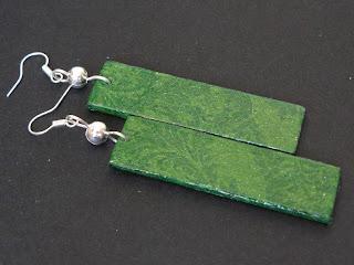 biżuteria decoupage - długie zielone kolczyki