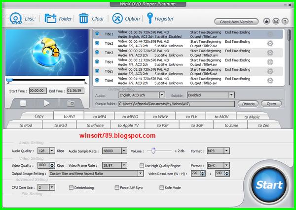 WinX DVD Ripper Platinum 7.5 With Crack