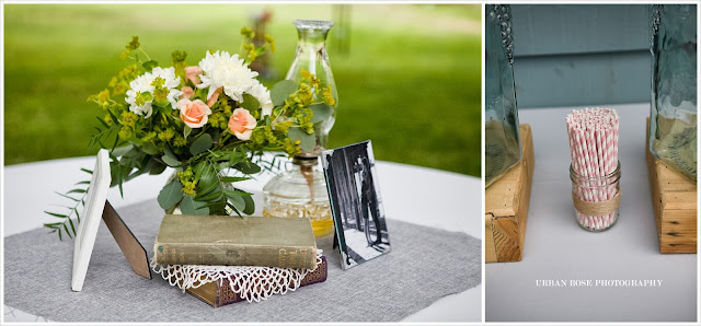Wedding flower table straws photo