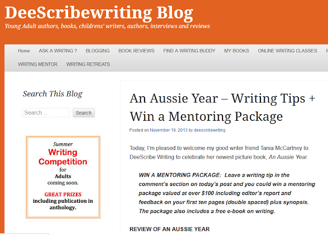 http://deescribewriting.wordpress.com/2013/11/19/an-aussie-year-win-a-mentoring-package/
