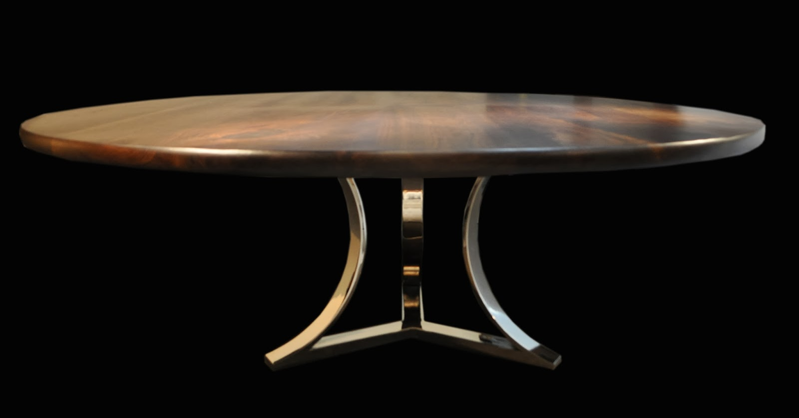 Lovely Tri Arc Chrome Base with Traditional Walnut in Table Top