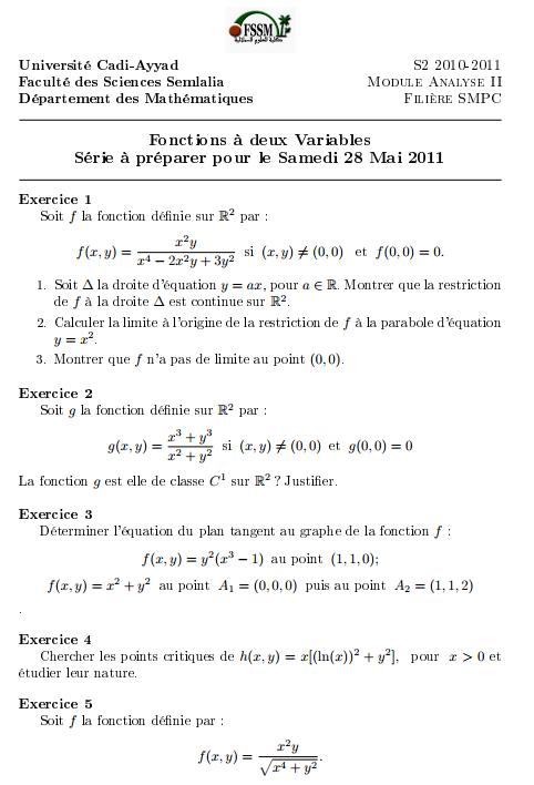 Fonctions A Deux Variables Exercices Corriges Smpc S2