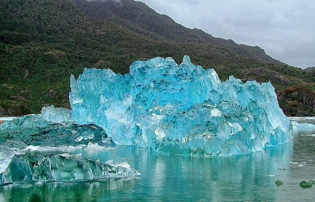 A stunning iceberg washed ashore on the coast of Alaska