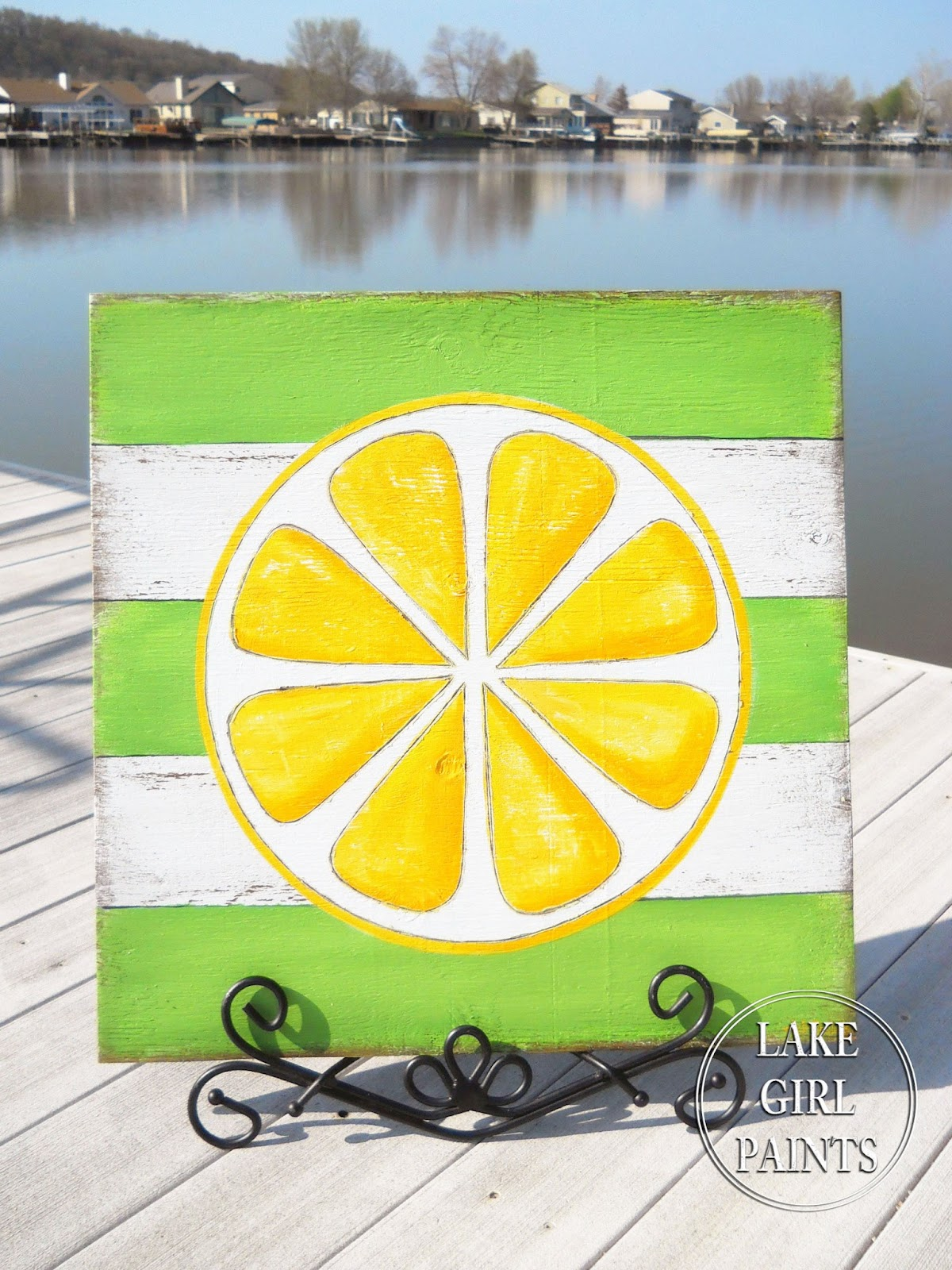 Lake Girl Paints: DIY Wall Art - Citrus Stripes