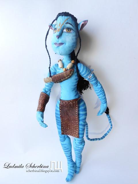 текстильная шарнирная кукла Аватар