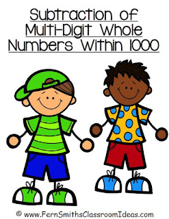 Fern Smith's Classroom Ideas Subtraction Multi-Digit Numbers Within 1000 - Center Games and Printables - No Common Core