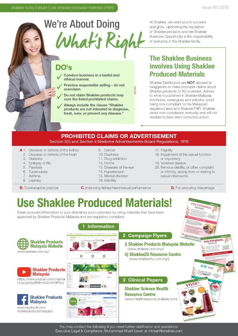 Produk Shaklee tidak bertujuan untuk tujuan terapi, mendiagnosis, merawat, menyembuhkan PENYAKIT