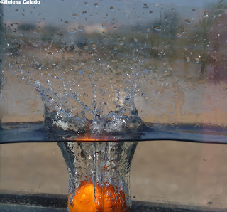 fotografia alta velocidade de uma clementina