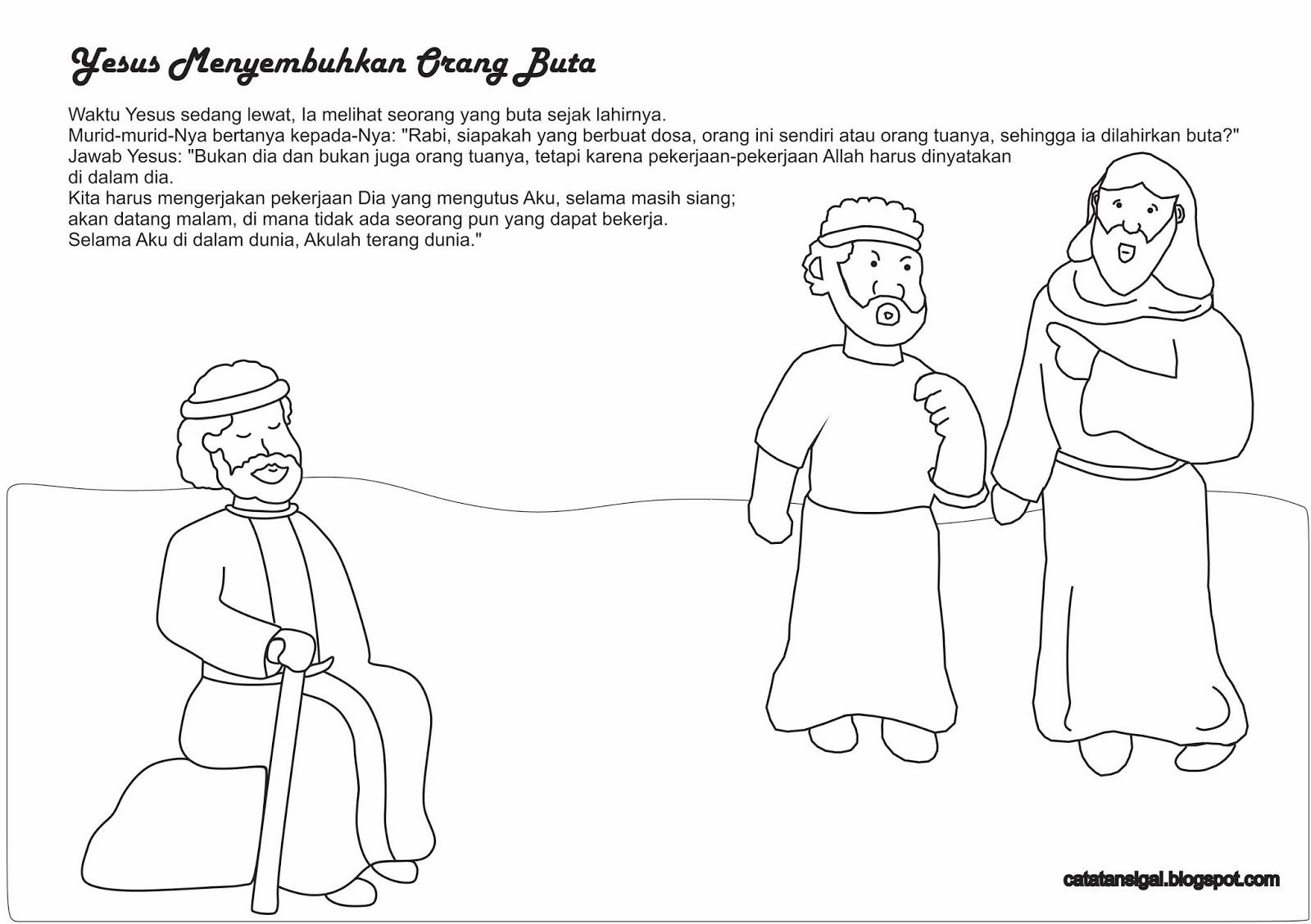 Mewarnai Gambar Yesus Menyembuhkan Orang Buta