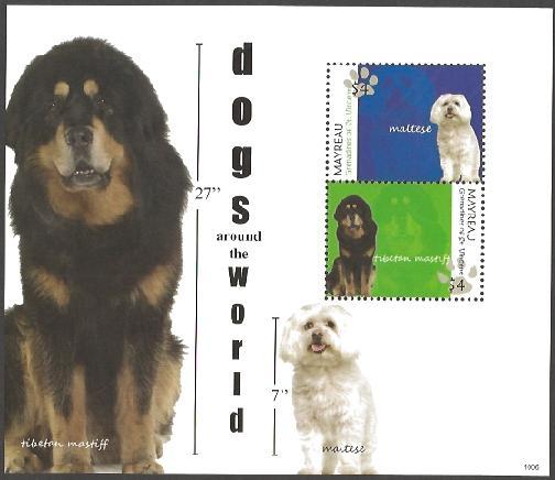 2010年セントビンセント・グレナディーン諸島 チベタン・マスティフ マルチーズの切手シート