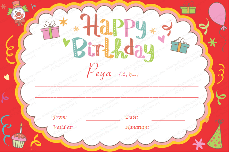 Gift certificate templates for Birthday gift list template