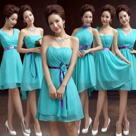 Six-Design Purple Ribbon Turquoise Midi Bridesmaids Dress