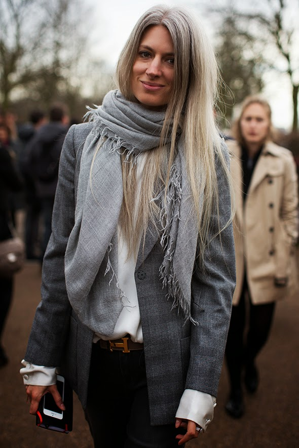 stylish woman with grey hair - The Sartorialist