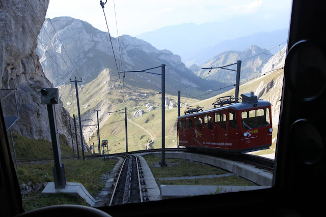 Riding in a Locher cogwheel train from Pilatus Kulm to Alpnachstad station at Mount Pilatus in Lucerne, Switzerland
