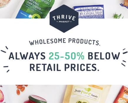 Check out Thrive Market for vegan grocery, household and beauty products at great prices!