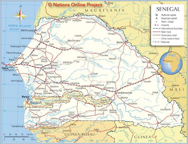 Sénégal - Cartes géographiques et touristiques du Sénégal