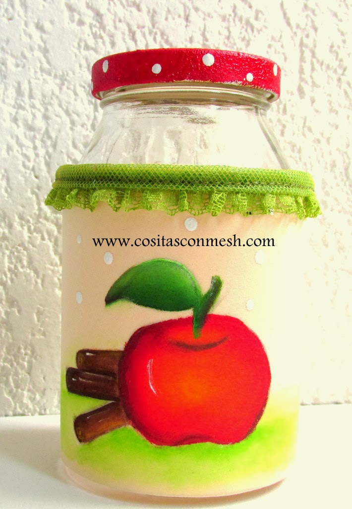 Cómo pintar una manzana y decorar frascos de vidrio ~ cositasconmesh