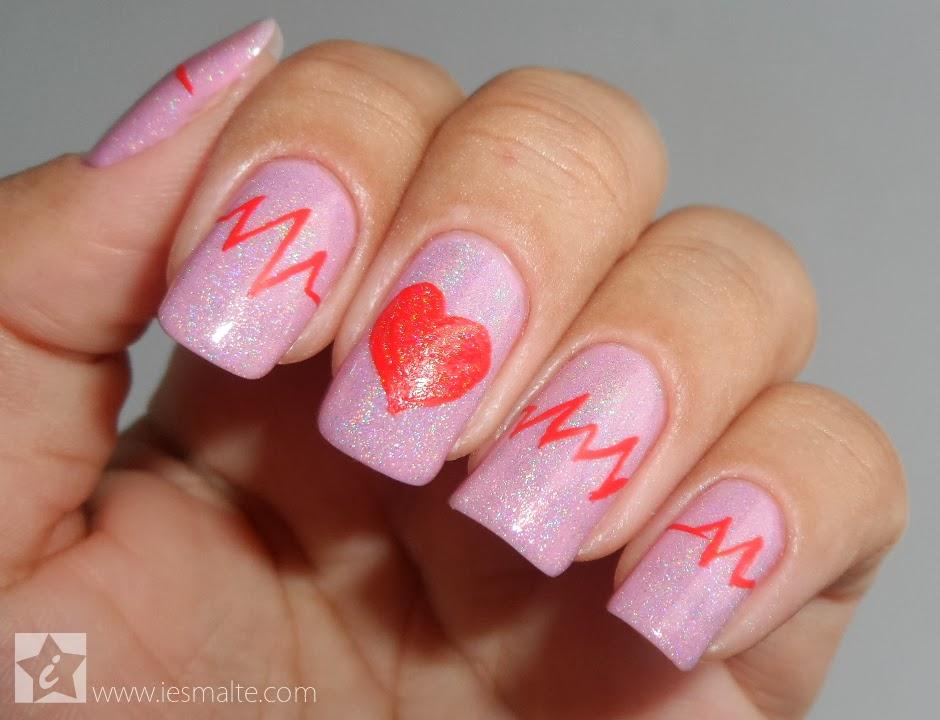 Unhas Decoradas - Coração Pulsante (Valentine)