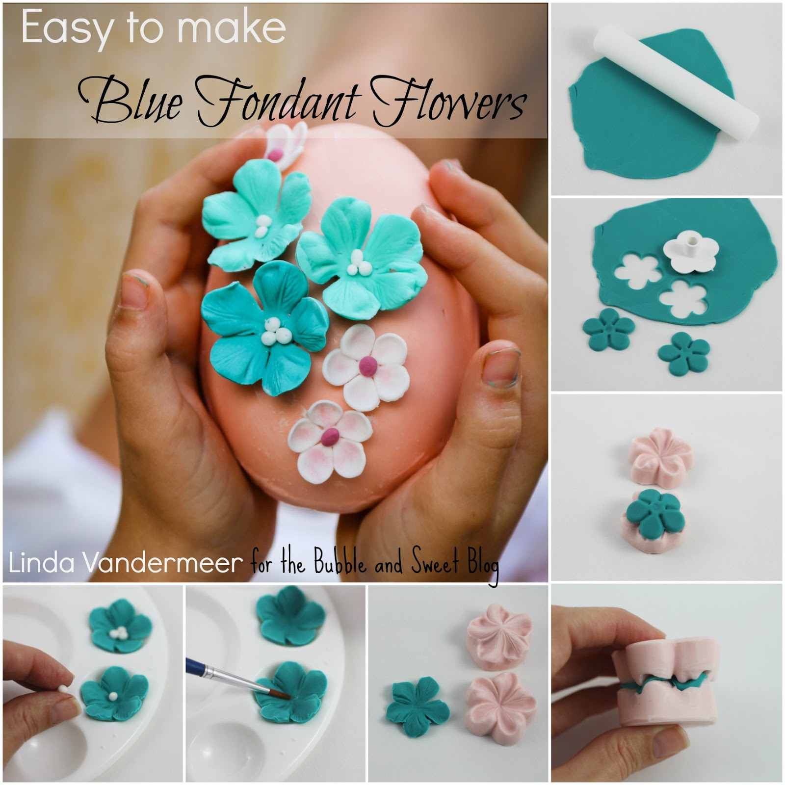 Decorate Cake With Fondant Flowers : Bubble and Sweet: Easy to make Blue Fondant Flowers