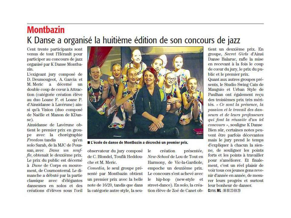 ARTICLE CONCOURS MONTBAZIN
