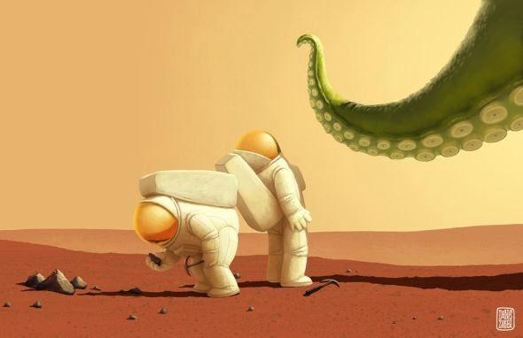 Denis Zilber ilustrações divertidas caricaturas Marte