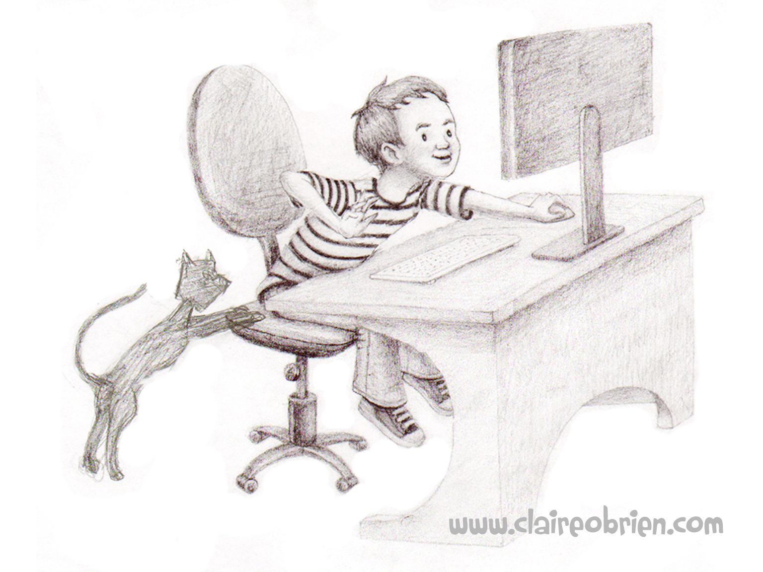 """Boy at the Computer"" Pencil by Claire O'Brien"