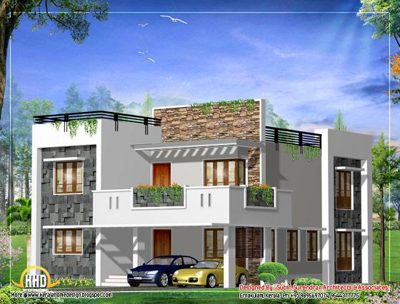Modern square home design plan - 2541 Sq. Ft.(236 Sq. M. )(282 Square Yards) - March 2012