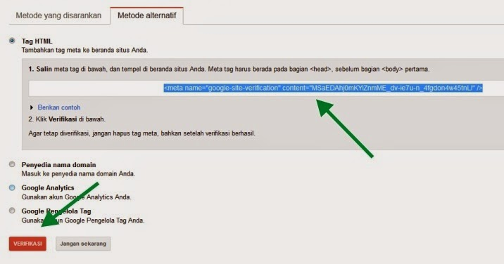 Gambar code verifikasi code webmaster toola google