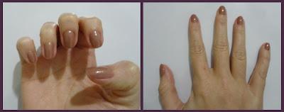Lindo esmalte Citrino Nude da Risque aplicado nas unhas. Ótima fixação e durabilidade.