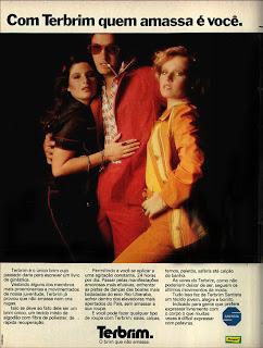 anúncio tecido terbrim da rhodia de 1974. Os anos 70.propaganda anos 70; história da década de 70; reclames anos 70; brazil in the 70s; Oswaldo Hernandez