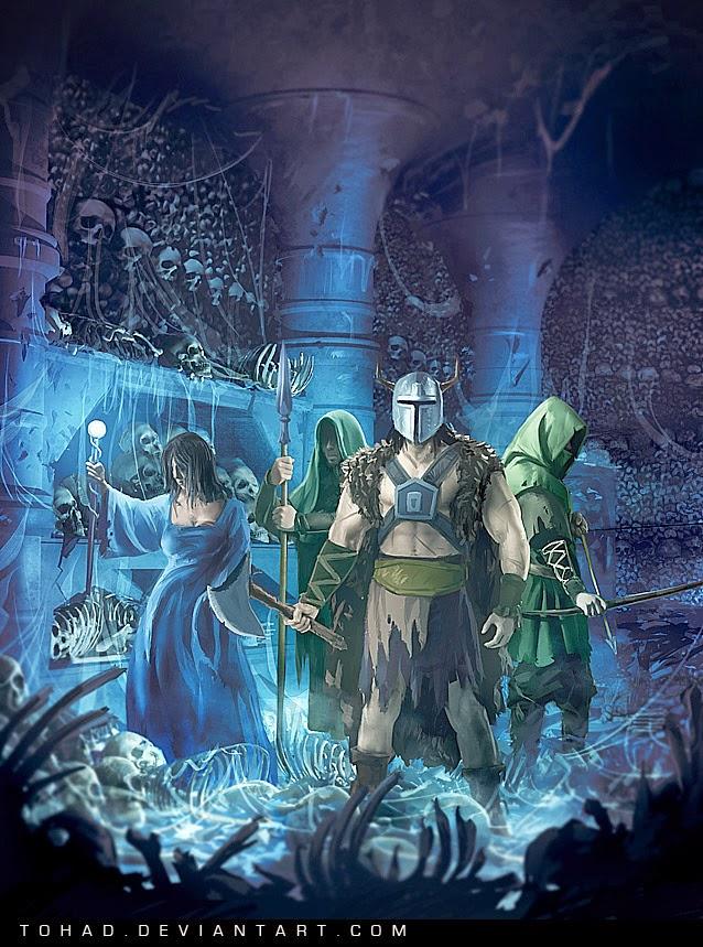 illustration de Sylvain «Tohad» Sarrailh représentant 4 personnages dans des catacombes