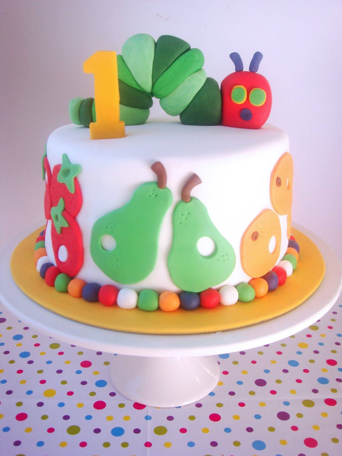 Butter hearts sugar very hungry caterpillar cake for 1st birthday cake decoration